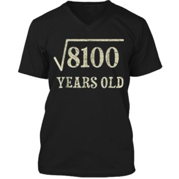 90 yrs years old Square Root of 8100 90th birthday T-Shirt Mens Printed V-Neck T