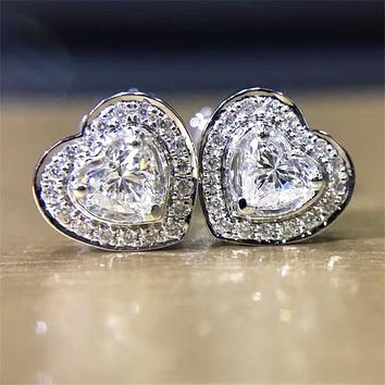 LASAMERO 0.298CTW Heart Cut Natural Diamond Cluster Earrings 18K White Gold Stud Earrings Fine Jewelry Earring Studs