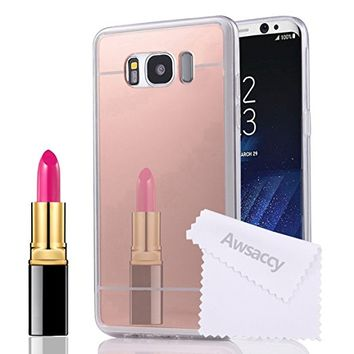 Samsung Galaxy S8 Rose Gold Mirror Case, Awsaccy(TM) Luxury Mirror [Ultra-Thin] [Ultra-Slim] Flexible TPU Back Protective Case Makeup for Galaxy S8 Scratch Resistant Slip Resistant Women Pink