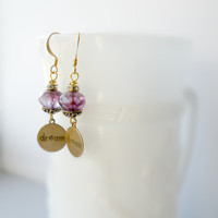Radiant Orchid Swarovski Earrings Dream Charm Earrings Purple Tamikaalceedesigns