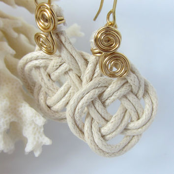 Sailor Knot Earrings Natural Cotton Beach Wedding Cruise Wedding Nautical Wedding Prosperity Good Luck Knot Handmade Chinese Knotting