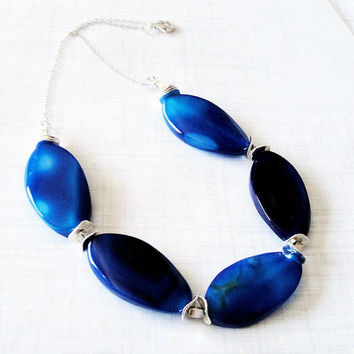 CIJ ChristmasInJuly Sale Blue Twisted Oval Agate  Necklace,  Chunky Gemstone Beaded Necklace - .925 Sterling Silver Necklace