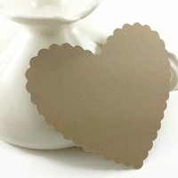 100 Large Kraft Die Cut Scallop Hearts, Bride And Groom Advice Cards, DIY Weddings, Rustic Wedding Wish Hearts (3x2.75)