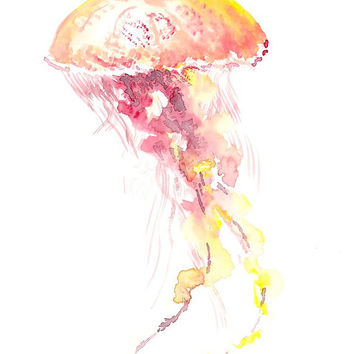 Jelly Fish, Original watercolor painting, 10 X 8 in, pink red yellow art, watercolor animal art, sea animals, minimalism