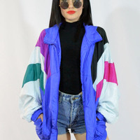 vintage 90s colorblock nylon windbreaker blue striped track jacket slouchy oversized zip up large XL