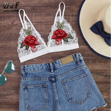 Dotfashion 2017 Female Summer Patch Scalloped Hem Lace Bralet Rose Embroidered Sexy Tops Hollow Out Backless Slip Bralette
