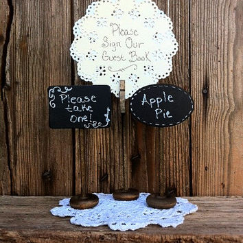 Rustic Wedding Decor Chalkboard Table Sign Dessert Signs Free Standing Table Sign Holder Chalkboard Sign Clothespin Card Holder Table Number