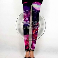FREE SHIPPING Rose Galaxy Print Leggings MCXS121 from GowithGalaxy