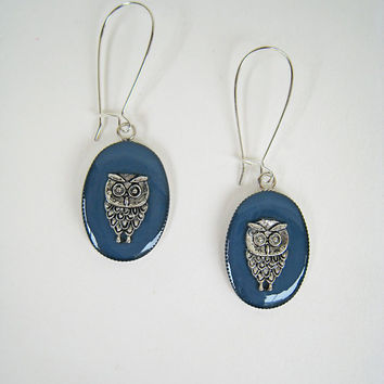 Greek Athenian Owl denim blue earrings, navy indigo sky blue, dangle long drop surgical animal nature bohemian hippie greek jewelry custom