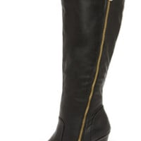Hot and Edgy Black Knee High Heel Boots