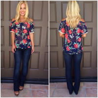 Bed of Roses Off Shoulder Top - NAVY