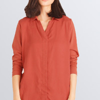 V-Neckline Long Sleeve Blouse