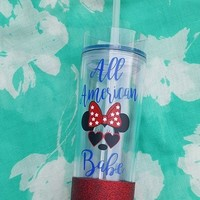 All American Babe Minnie Mouse Tumbler, Glitter Tumbler, 4th Of July Tumbler