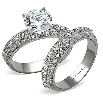 Antique Style Perfect 2CT Round Cut Russian Lab Diamond Micro Pave Wedding Bridal Set