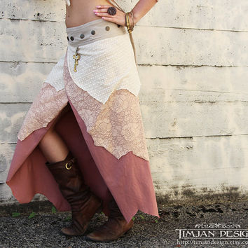 LONG PIXIE SKIRT -  Wrap around - Hippie Organic Faery Fairy Costume Fantasy - Dusty Rose Pink Peach - Medium to Extra Large