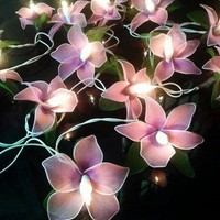 20x Purple Color Orchid Flowers Fairy String Lights Home Floral Decor