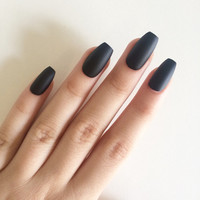Matte black coffin nails, hand painted acrylic nails, fake nails, false nails, stick on nails, nail art, artificial nails