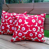 Marimekko Pillow cover, pillow case, pillow sham, throw pillow, cushion cover, envelope closure,16 x 15 inches, set of 2, Red