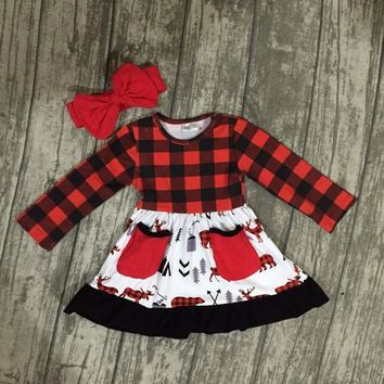 Red Flannel Style Girls Pocket Dress