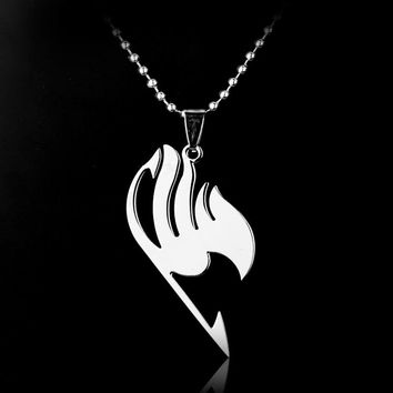Anime Fairy Tail Guild Silver Stainless Steel Pendant Necklace Jewelry Cosplay