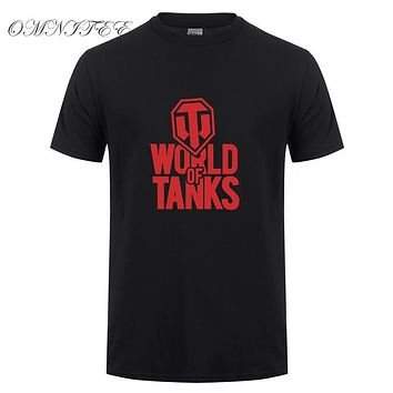 Men World of Tanks T Shirt Printed Short Sleeve Cotton Men T Shirts WOT Game T-Shirt Top Tees Clothing