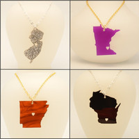 Customizable Acrylic State Love Necklace with Heart - Choose the City for the Heart - Going Away Gift, Handmade Gift