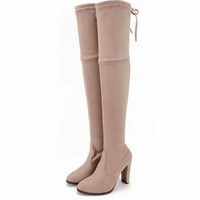 autumn winter new designer over the knee thigh high stretch suede leather boots stilettos booties Pumps Block Chunky High heels