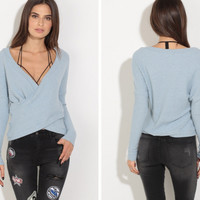 Light Blue V-Neck Long Sleeve Wrap Shirt