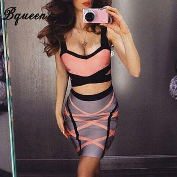 LMFOK2 OPAL FERRIE - Bqueen 2017 New Cross Color Block Fashion Two-pieces Bandage Set