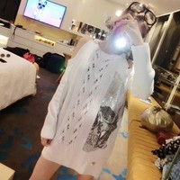"""Philipp Plein"" Women Fashion Hollow  Personality Rhinestone Skull Bare Shoulder Long Sleeve Sweater Tops"