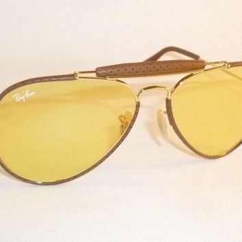 RAY BAN Aviator Outdoorsman Brown Leather RB 3422Q 9042/4A Yellow Ambermatic