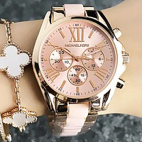 MK New Popular Women Men Third Eyes Quartz Watch Business Movement Ceramic Wristwatch Pink I-Fushida-8899