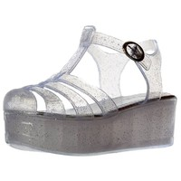 Onlineshoe Women's Retro Jelly Gladiator Sandals Chunky Platform Wedges Clear UK4 - EU37 - US6 - AU5