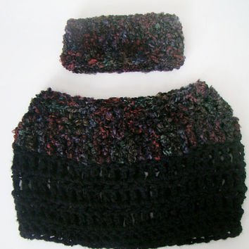 FREE SHIPPING - Chunky Cowl & Earwarmer - Black, Multi, Rainbow, Red, Orange, Yellow, Green, Blue, Purple