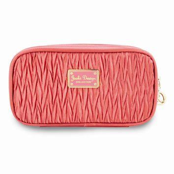 Vintage Allure Coral Double Zipper Cosmetic Bag