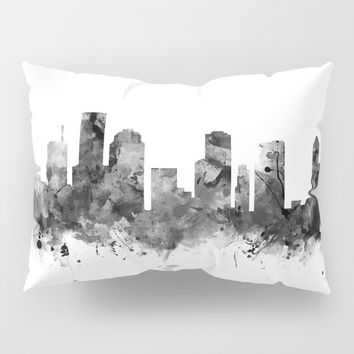 Houston Skyline Black and White Pillow Sham by monnprint