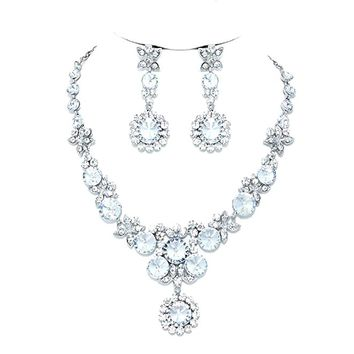 Affordable Wedding Jewelry Clear Crystal Flower Chandelier Earrings Silver Necklace Set