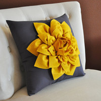 Decorative Flower Pillow -Mustard Yellow Dahlia on Charcoal Grey 14 X 14