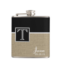 Burlap Print and Monogram Flask