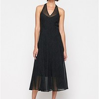 V-Neck Halter Calf-Length Dress in Thumbprint Silk Chiffon