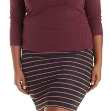 Plus Size Black Combo Printed Bodycon Mini Skirt by Charlotte Russe