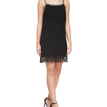 Women's Sleeveless Beaded-Top Fringe Dress - Yoana Baraschi - Black (MEDIUM)