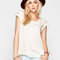 Full Tilt Lace Raglan Womens Shirtail Top Cream  In Sizes