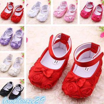 Cute Rose Baby Girls Soft Shoes Infant Toddler Princess Lace Floral Flower Warm Pre-walker = 1929781956