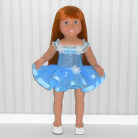 Blue Dance Outfit for 18 inch Girl Dolls Ballet Outfit with Sequin Leotard and Ribbon Tutu American Doll Clothes