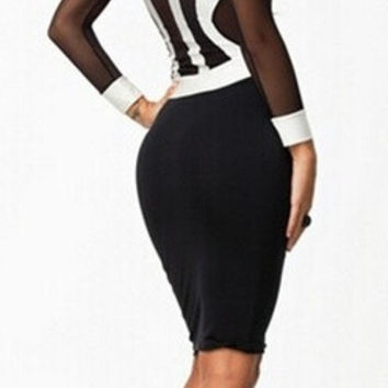 High Qulity Classic Black Bandage Back Over Knee Cocktail Ball Party Bodycon Dress Clubwear