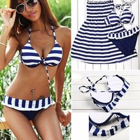 Imvation Women Beach Cross Strip Style Halterneck Top 3 Pieces Bikini Set padded...