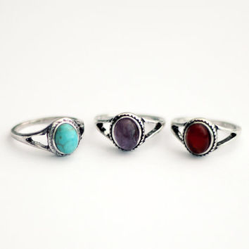 Cleo Ring, Gemstone ring, Turquoise, Amethyst, Jasper, Natural stone, Alloy ring, Size 7