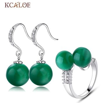 KCALOE Green Earrings Ring Jewelry Sets Silver Plated Crystal Rhinestone Round Ball Natural Opal Stone Jewelry Set For Women