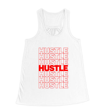 Hustle Thank You Plastic Bag Typography Flowy Racerback Tank Top